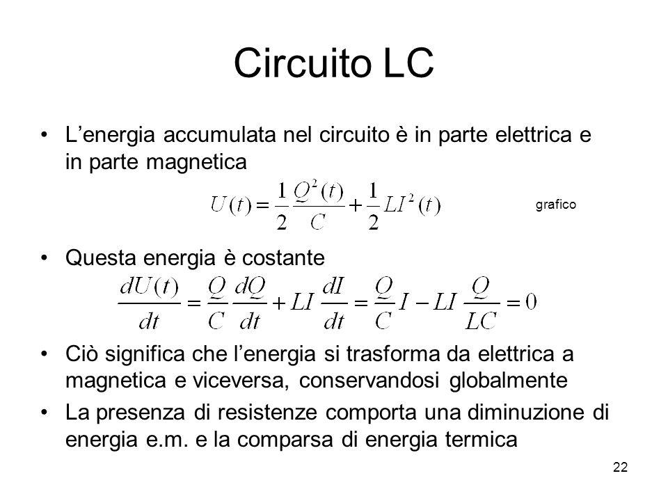 Circuito LCL'energia accumulata nel circuito è in parte elettrica e in parte magnetica. Questa energia è costante.