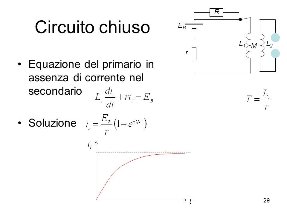 R r. M. EB. L1. L2. Circuito chiuso. Equazione del primario in assenza di corrente nel secondario.