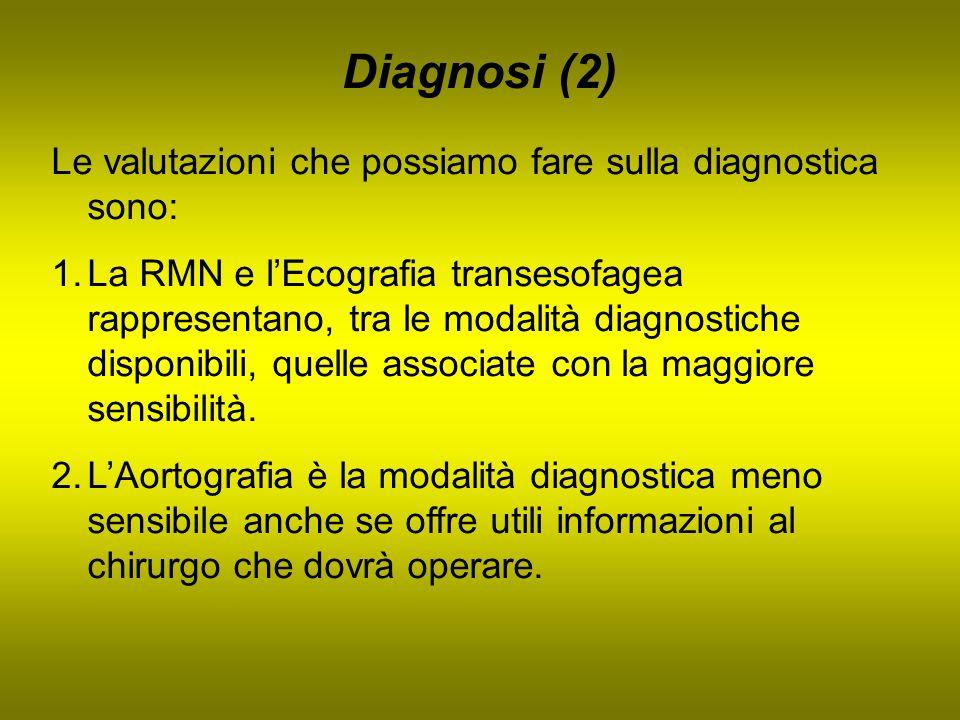Diagnosi (2) Le valutazioni che possiamo fare sulla diagnostica sono: