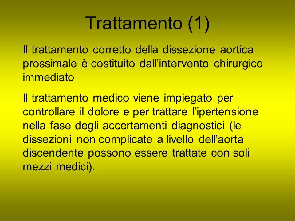 Trattamento (1) Il trattamento corretto della dissezione aortica prossimale è costituito dall'intervento chirurgico immediato.