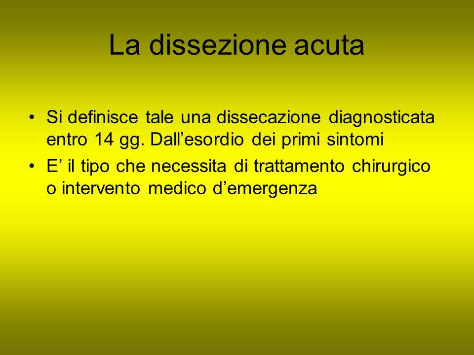 La dissezione acuta Si definisce tale una dissecazione diagnosticata entro 14 gg. Dall'esordio dei primi sintomi.