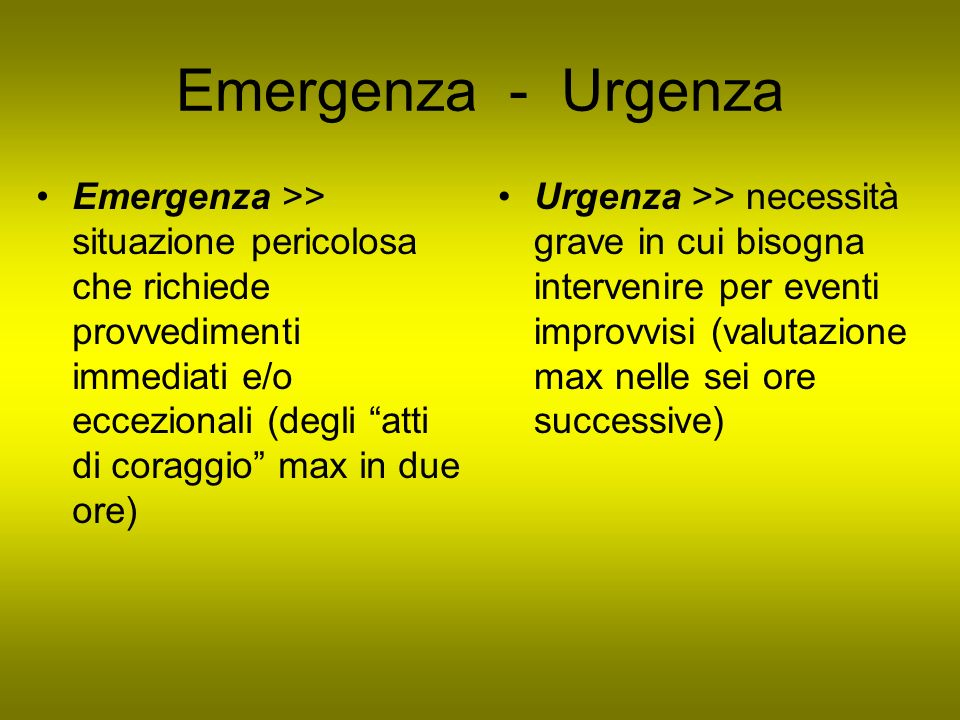 Emergenza - Urgenza