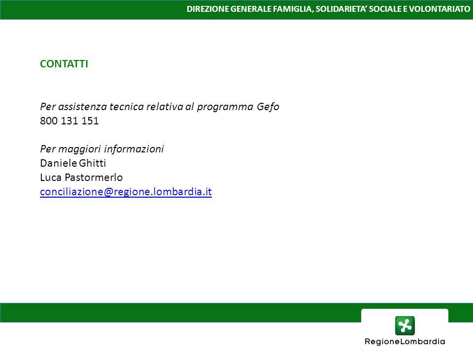 Per assistenza tecnica relativa al programma Gefo 800 131 151