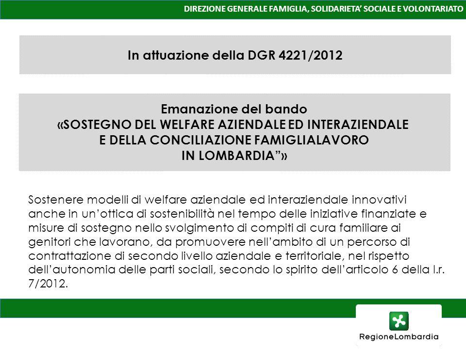 In attuazione della DGR 4221/2012