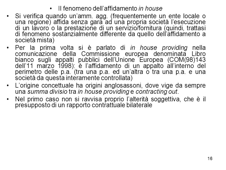 Il fenomeno dell'affidamento in house