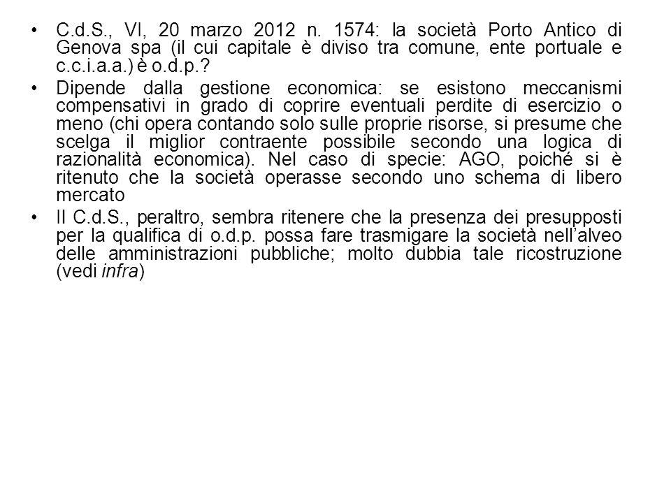 C.d.S., VI, 20 marzo 2012 n. 1574: la società Porto Antico di Genova spa (il cui capitale è diviso tra comune, ente portuale e c.c.i.a.a.) è o.d.p.