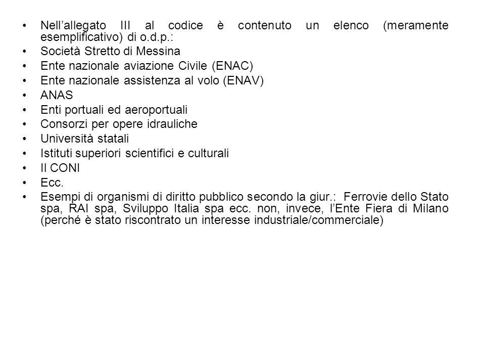 Nell'allegato III al codice è contenuto un elenco (meramente esemplificativo) di o.d.p.: