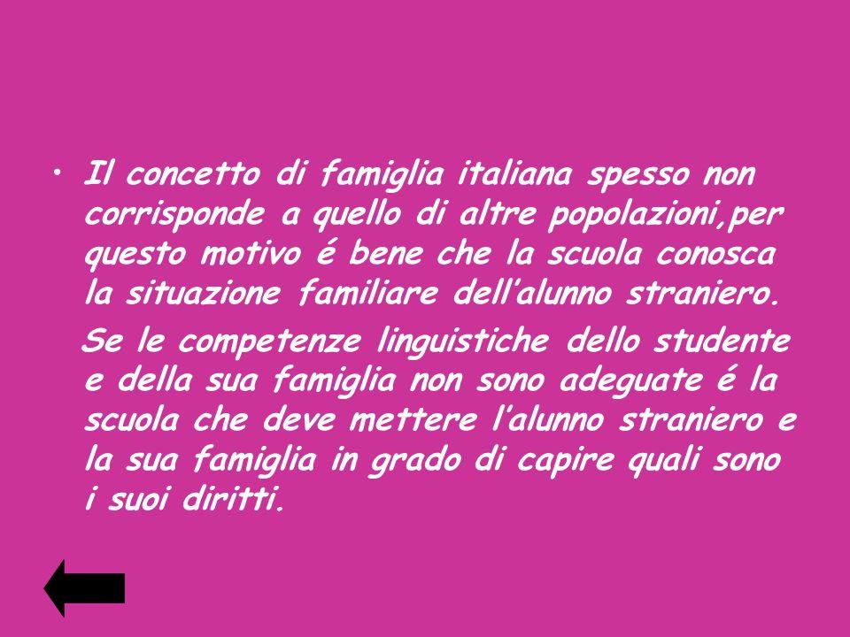 Il concetto di famiglia italiana spesso non corrisponde a quello di altre popolazioni,per questo motivo é bene che la scuola conosca la situazione familiare dell'alunno straniero.