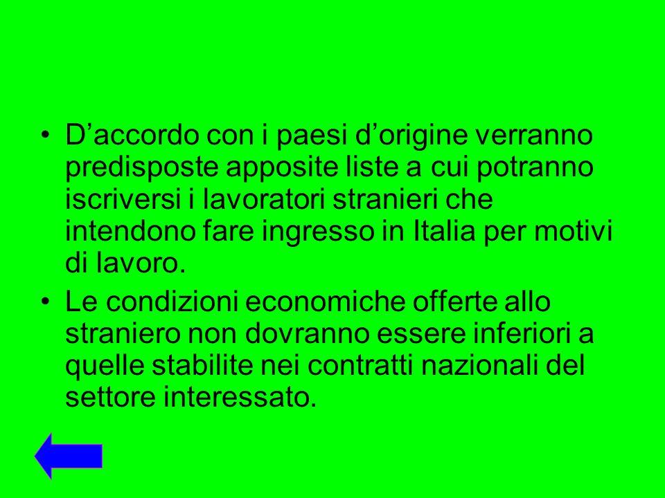 D'accordo con i paesi d'origine verranno predisposte apposite liste a cui potranno iscriversi i lavoratori stranieri che intendono fare ingresso in Italia per motivi di lavoro.