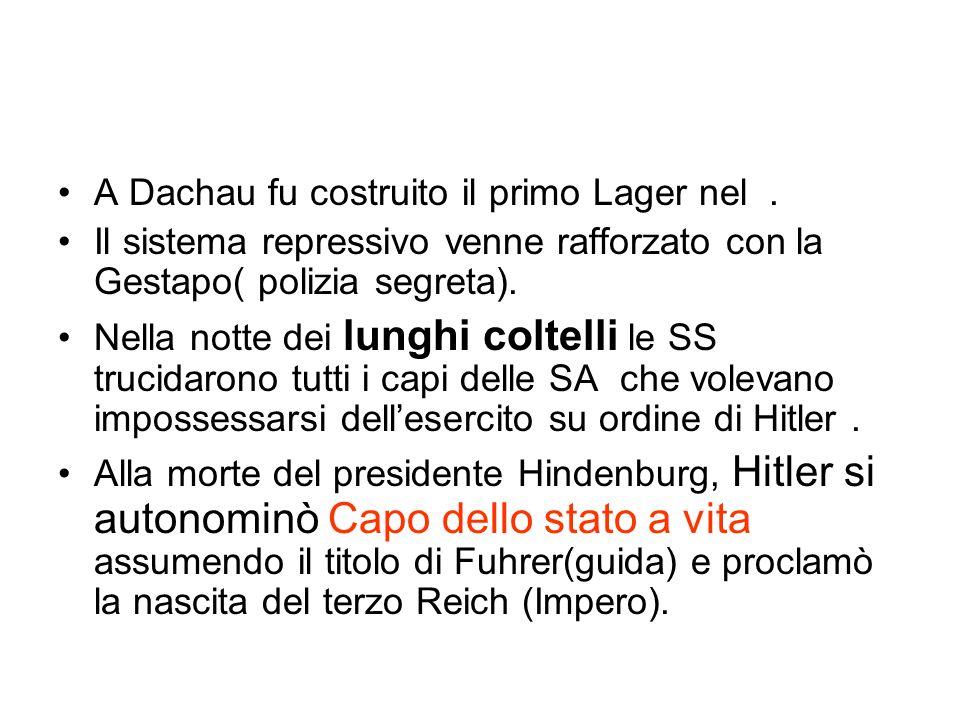 A Dachau fu costruito il primo Lager nel .