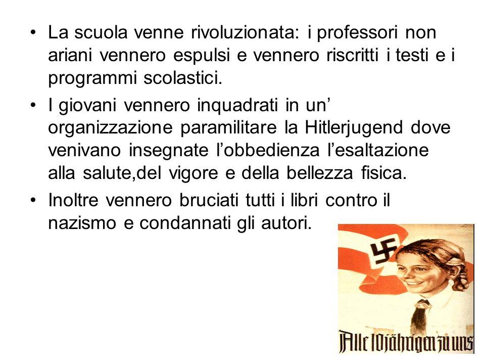 La scuola venne rivoluzionata: i professori non ariani vennero espulsi e vennero riscritti i testi e i programmi scolastici.