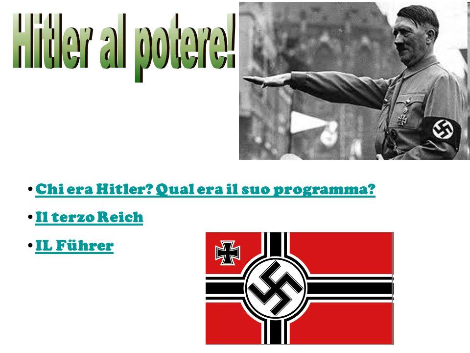 Hitler al potere! Chi era Hitler Qual era il suo programma