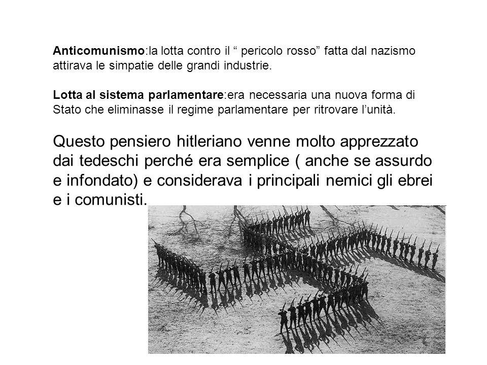 Anticomunismo:la lotta contro il pericolo rosso fatta dal nazismo attirava le simpatie delle grandi industrie.