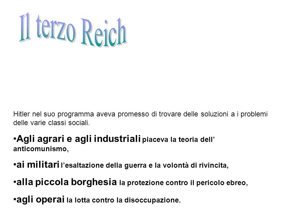 Il terzo ReichHitler nel suo programma aveva promesso di trovare delle soluzioni a i problemi delle varie classi sociali.