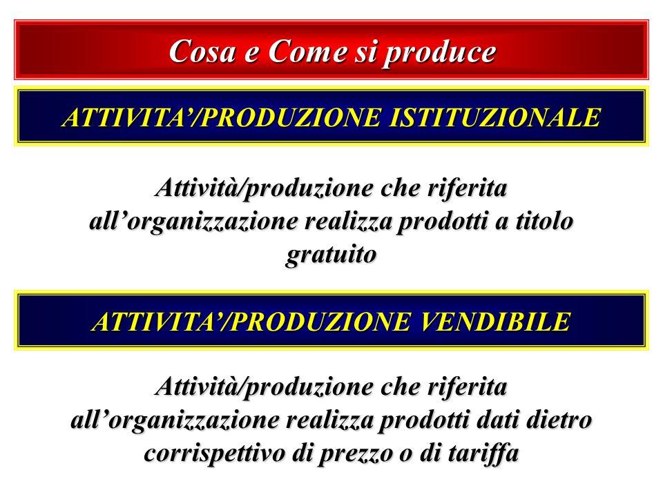 ATTIVITA'/PRODUZIONE ISTITUZIONALE ATTIVITA'/PRODUZIONE VENDIBILE