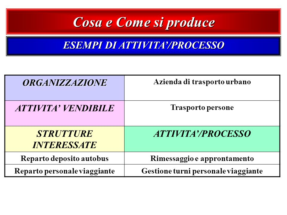 Cosa e Come si produce ESEMPI DI ATTIVITA'/PROCESSO ORGANIZZAZIONE