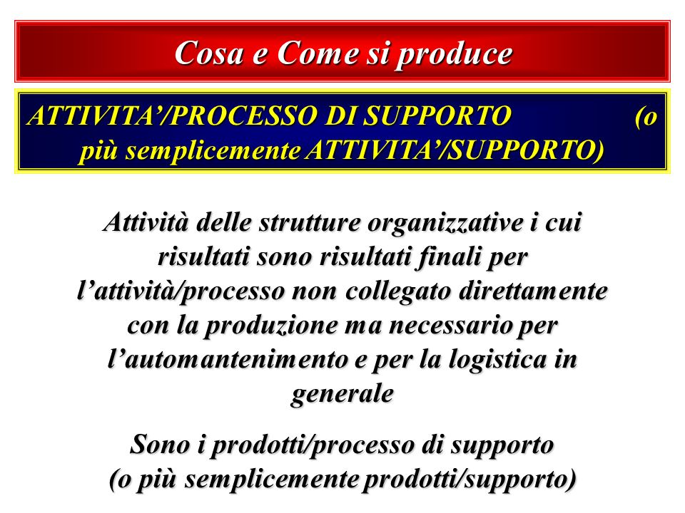 Cosa e Come si produce ATTIVITA'/PROCESSO DI SUPPORTO (o più semplicemente ATTIVITA'/SUPPORTO)