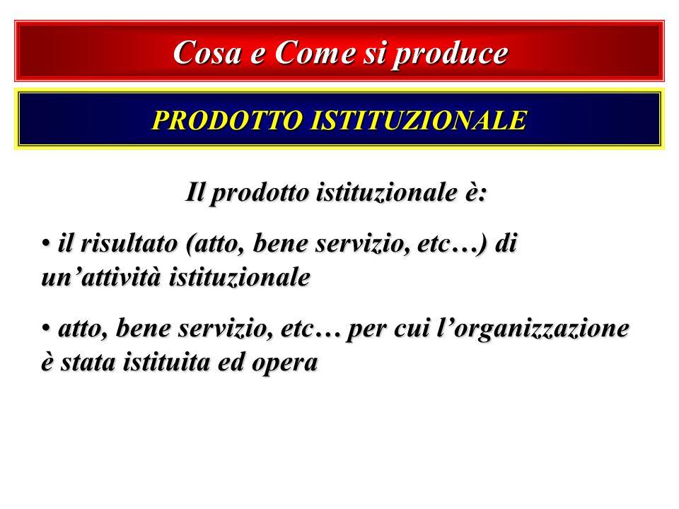 PRODOTTO ISTITUZIONALE Il prodotto istituzionale è: