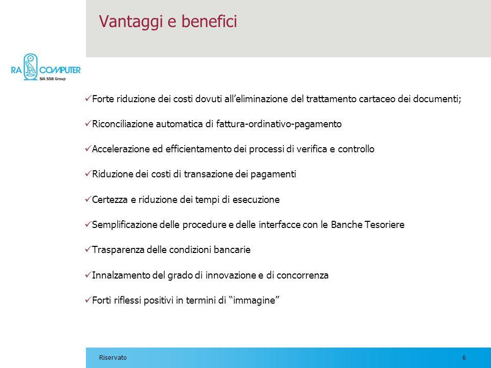 Vantaggi e benefici Forte riduzione dei costi dovuti all'eliminazione del trattamento cartaceo dei documenti;