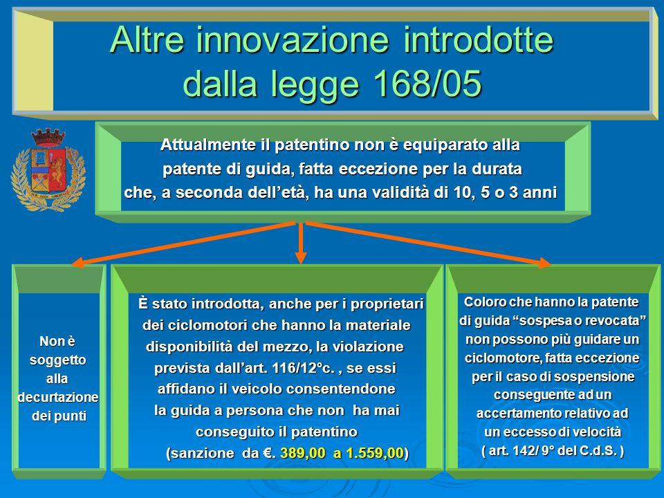 Altre innovazione introdotte dalla legge 168/05