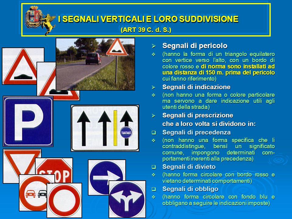 I SEGNALI VERTICALI E LORO SUDDIVISIONE (ART 39 C. d. S.)