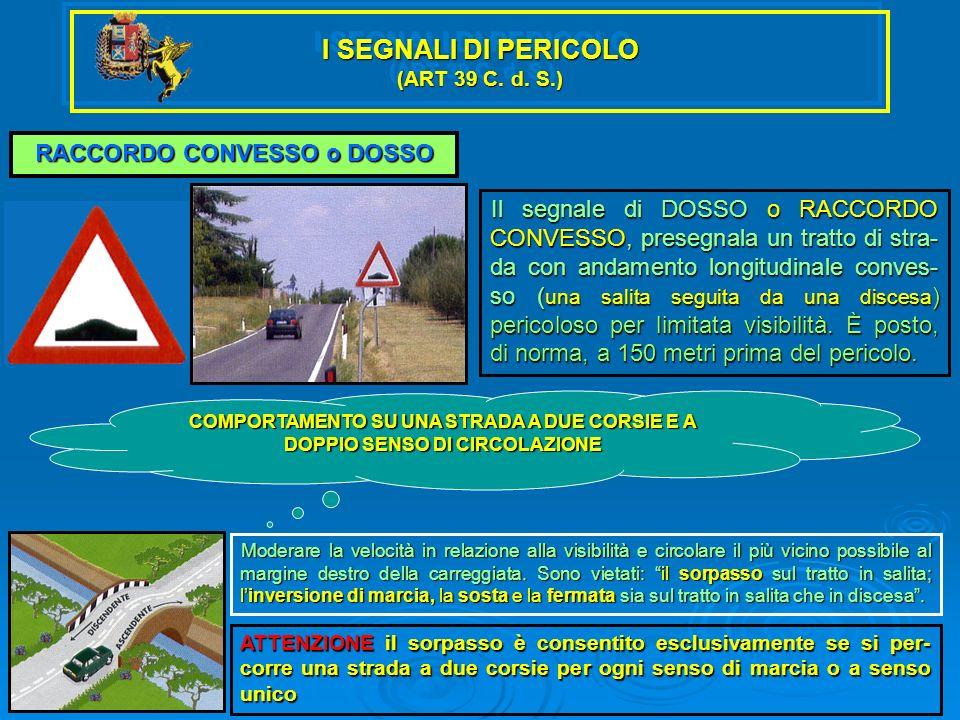 I SEGNALI DI PERICOLO (ART 39 C. d. S.) RACCORDO CONVESSO o DOSSO