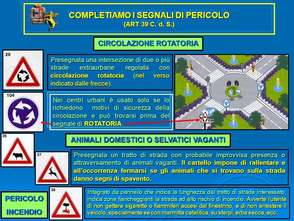 COMPLETIAMO I SEGNALI DI PERICOLO (ART 39 C. d. S.)