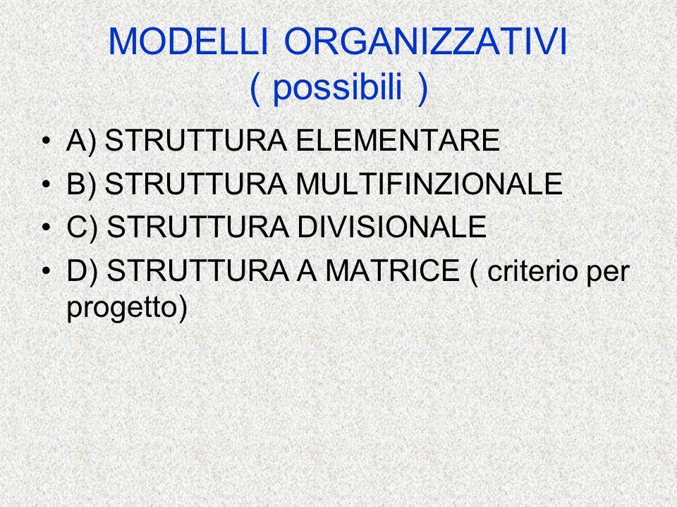 MODELLI ORGANIZZATIVI ( possibili )