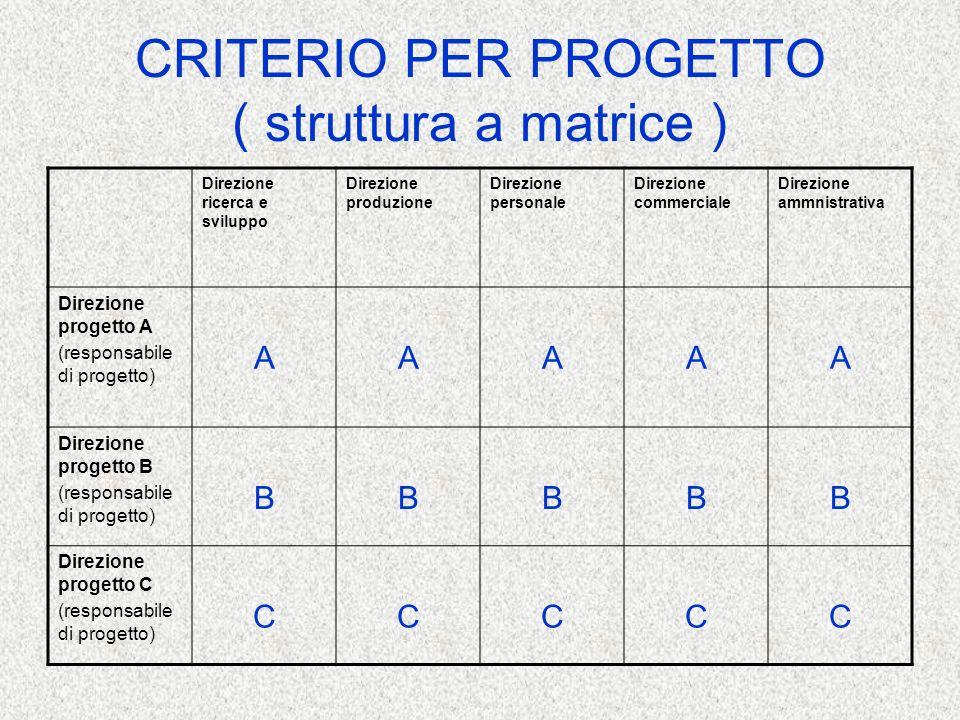 CRITERIO PER PROGETTO ( struttura a matrice )