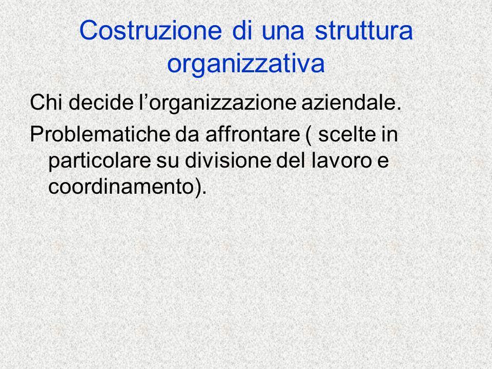 Costruzione di una struttura organizzativa