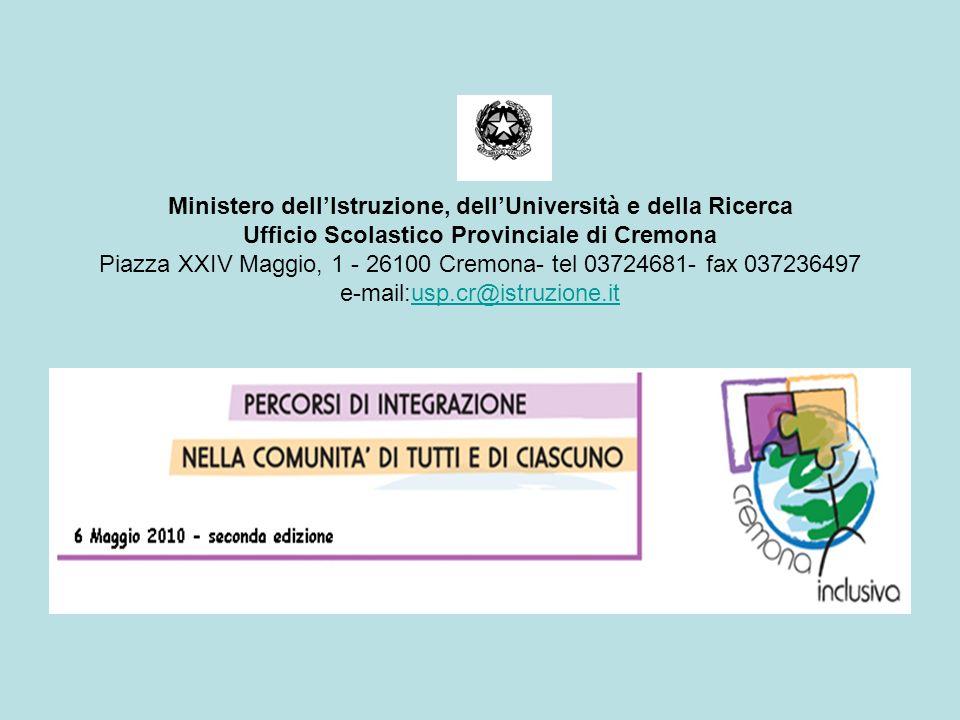 Ministero dell'Istruzione, dell'Università e della Ricerca Ufficio Scolastico Provinciale di Cremona Piazza XXIV Maggio, 1 - 26100 Cremona- tel 03724681- fax 037236497 e-mail:usp.cr@istruzione.it