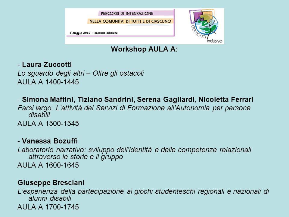 Workshop AULA A: - Laura Zuccotti. Lo sguardo degli altri – Oltre gli ostacoli. AULA A 1400-1445.