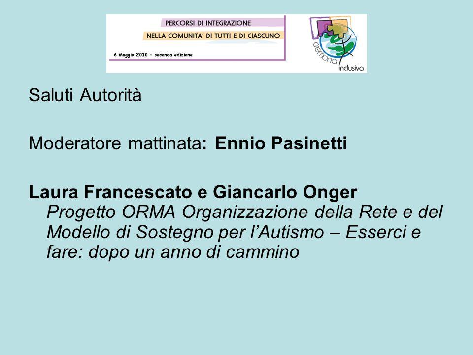 Saluti Autorità Moderatore mattinata: Ennio Pasinetti.