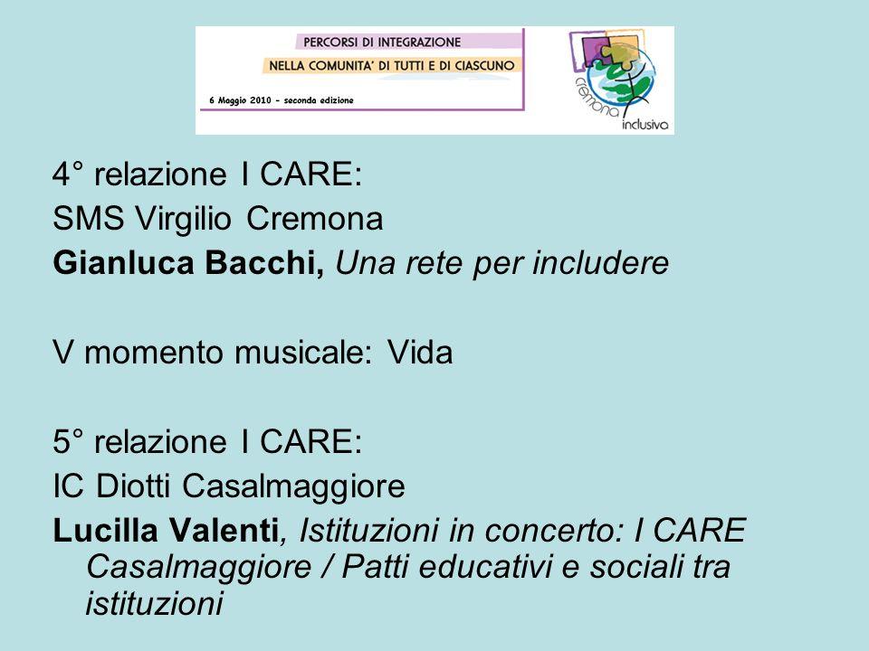 4° relazione I CARE: SMS Virgilio Cremona. Gianluca Bacchi, Una rete per includere. V momento musicale: Vida.