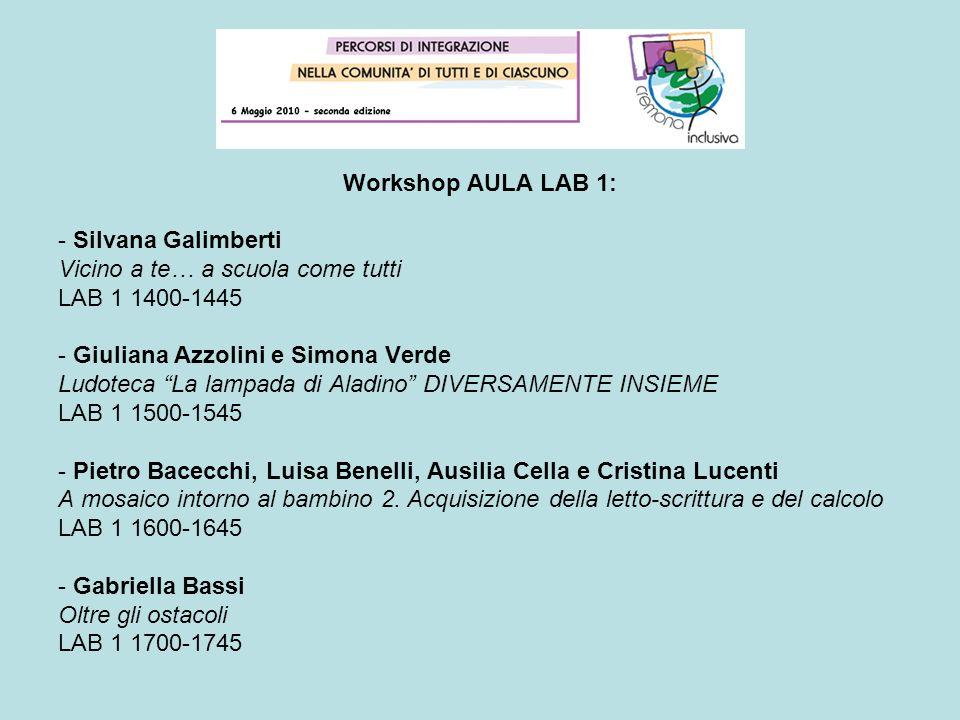 Workshop AULA LAB 1: - Silvana Galimberti. Vicino a te… a scuola come tutti. LAB 1 1400-1445. - Giuliana Azzolini e Simona Verde.