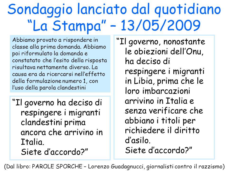 Sondaggio lanciato dal quotidiano La Stampa – 13/05/2009