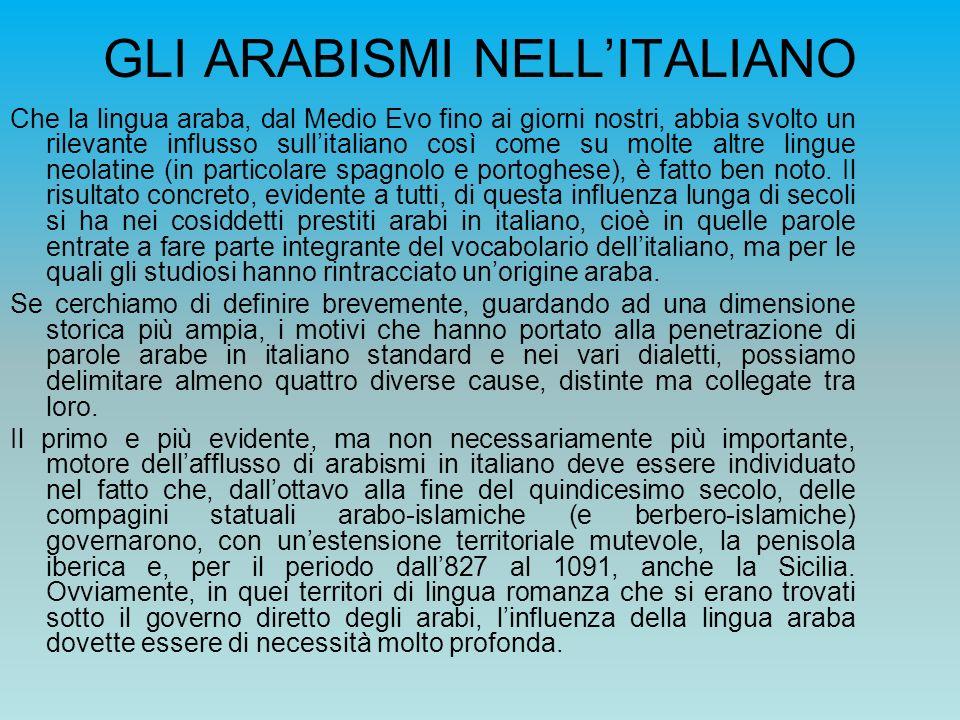 GLI ARABISMI NELL'ITALIANO