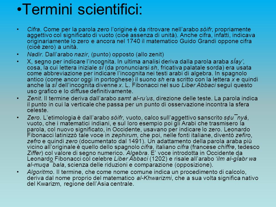 Termini scientifici:
