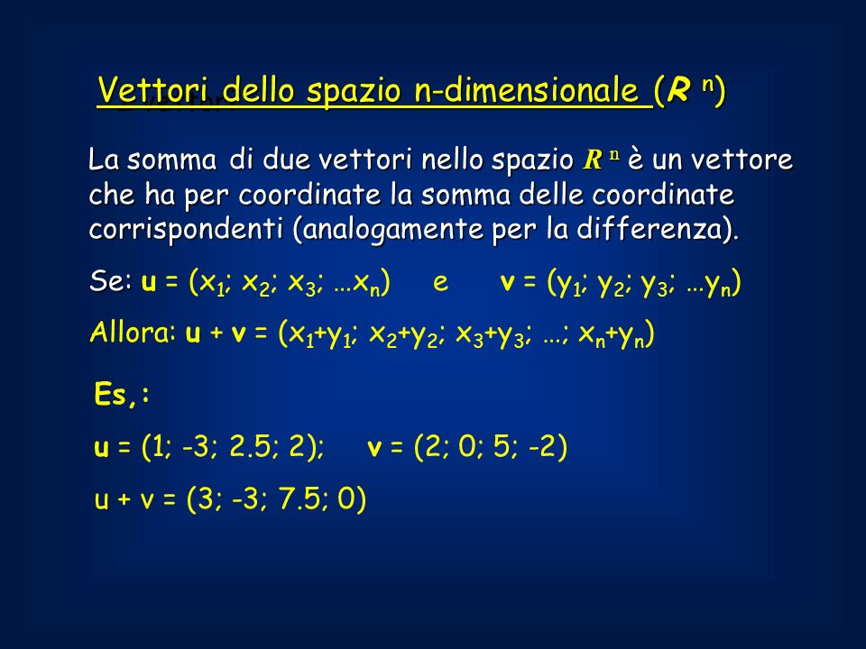 Vettori dello spazio n-dimensionale (R n)