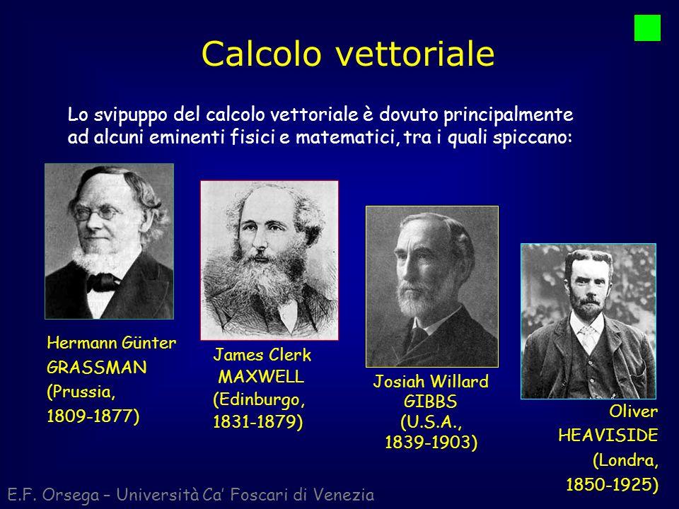 Calcolo vettoriale Lo svipuppo del calcolo vettoriale è dovuto principalmente ad alcuni eminenti fisici e matematici, tra i quali spiccano: