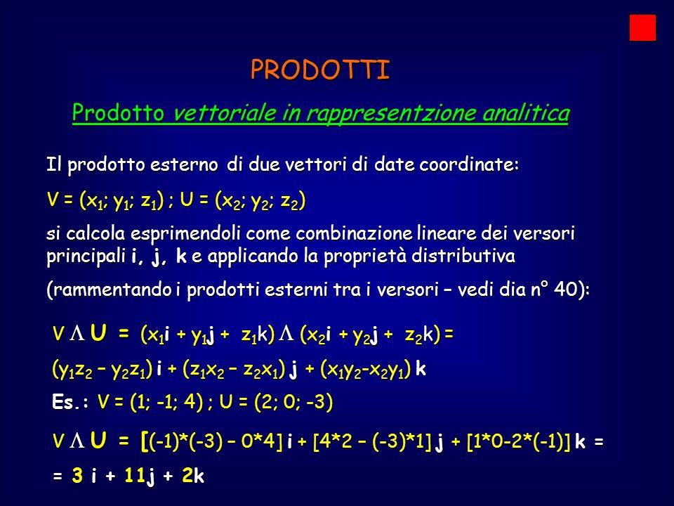 Prodotto vettoriale in rappresentzione analitica