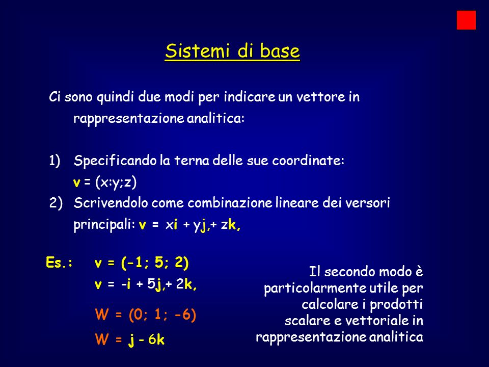 Sistemi di base W = (0; 1; -6)