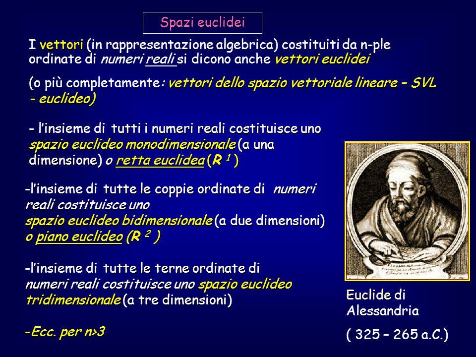 Spazi euclidei I vettori (in rappresentazione algebrica) costituiti da n-ple ordinate di numeri reali si dicono anche vettori euclidei.