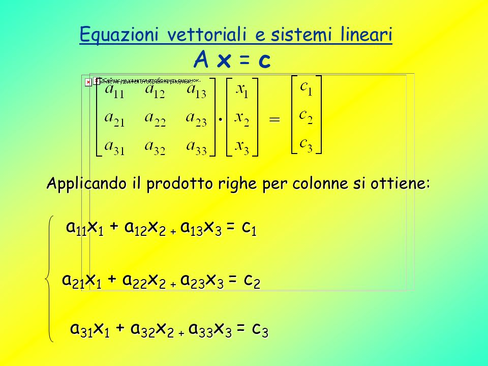 Equazioni vettoriali e sistemi lineari