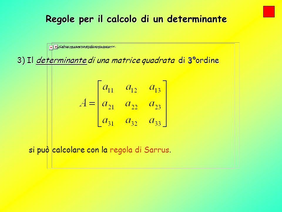 Regole per il calcolo di un determinante