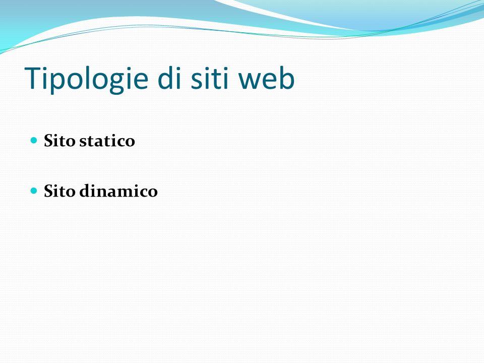 Tipologie di siti web Sito statico Sito dinamico