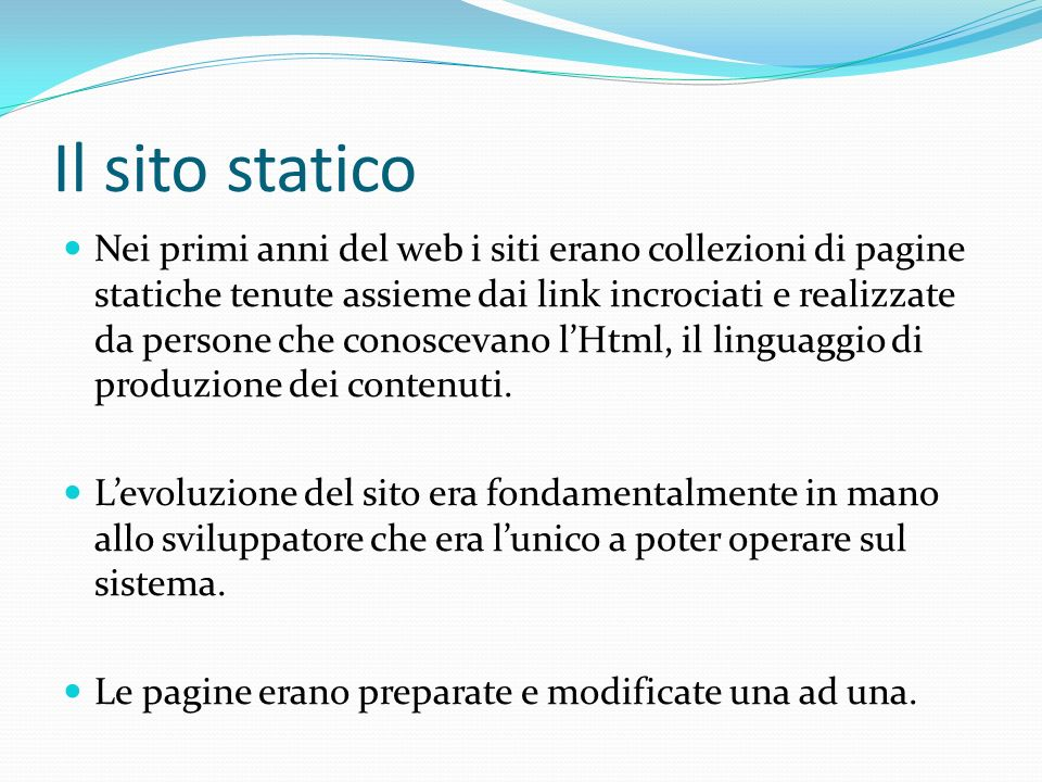 Il sito statico