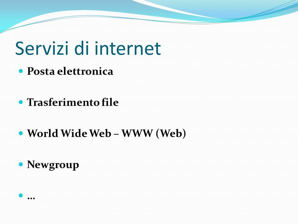 Servizi di internet Posta elettronica Trasferimento file