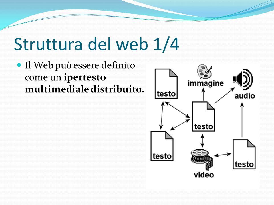 Struttura del web 1/4 Il Web può essere definito come un ipertesto multimediale distribuito.
