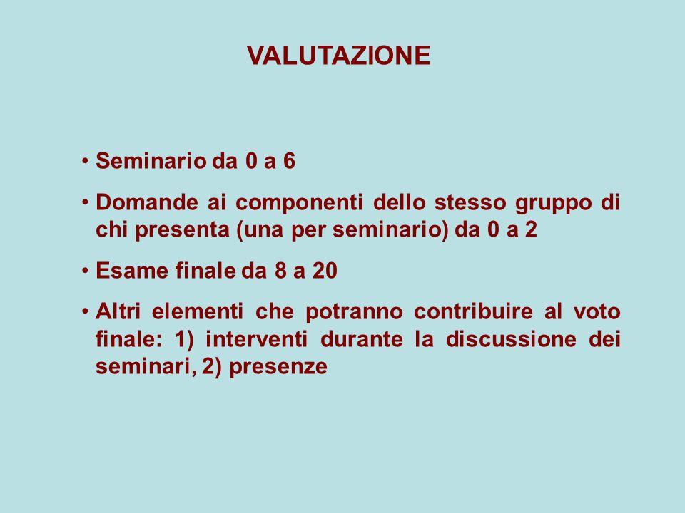 VALUTAZIONE Seminario da 0 a 6